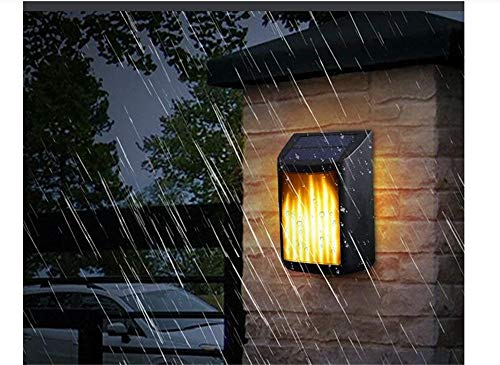 Best to Buy 3-Pack Solar Wall Light Outdoor, Flame Lanterns Flickering Flames Solar Wall Lights Outdoor,Waterproof Flickering Flames Wall Mounted Solar Lights Solar Powered and USB Charging