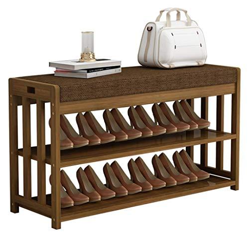 JIADUOBAO Zapatero de bambú y banco de almacenamiento, organizador de 2 niveles, asiento de banco, perfecto para armarios, pasillo o dormitorio
