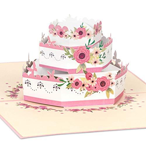 PaperCrush® Pop-Up Karte Hochzeitstorte [NEU!] - Besondere 3D Hochzeitskarte, Geschenkkarte als Glückwunsch zur Hochzeit - Handgemachte Glückwunschkarte für das Brautpaar