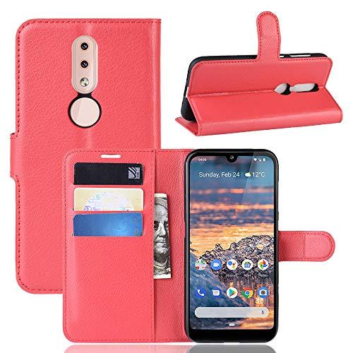 SWMGO® Flip Portafoglio Custodia per Nokia 4.2 (Rosso)