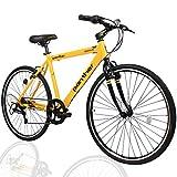 PANTHER (パンサー) クロスバイク 軽量アルミ製フレーム 外装7段変速 適応身長160cm以上 フロントハブクイックリリース搭載 アジャスタブルステム 厚手クッションサドル Vブレーキ コスパ最強モデル メーカー1年間保証 (Yellow×Black)