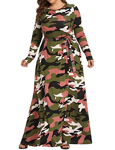 XUGWLKJ Plus Size Camouflage Maxi Dress for Women Long Sleeve Printed Long Dresses