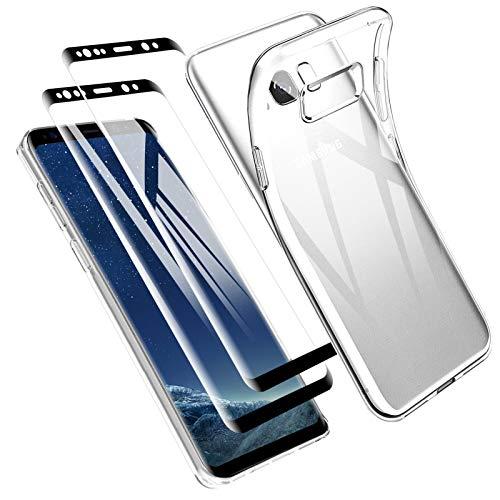 Zsmzzd Funda para Samsung Galaxy S8, 2 Pcs Protector de Pantalla Cristal Templado, Antigolpes Transparente Silicona TPU Suave Carcasa + Vidrio Templado Screen Protector Samsung Galaxy S8