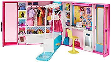 Barbie Fashionistas Le Dressing Deluxe pour poupée, transportable, avec 4 tenues et plus de 25 accessoires