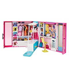 "​Item arrives in packaging that's 100% recyclable. For a gift-ready box, select ""Ship in Amazon packaging"" at checkout. ​The Barbie Dream Closet opens to reveal a play space more than 2 feet (60 cm) wide with 10+ storage areas, a rotating clothing ra..."