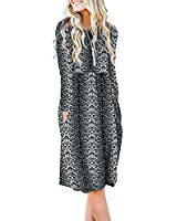 DB MOON Women Casual Long Sleeve Dresses Empire Waist Loose Dress with Pockets (Snow Leopard, S)
