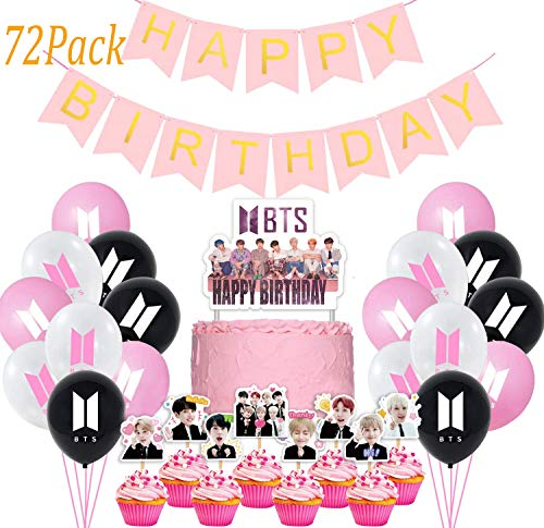 Jimiston BTS Birthday Party Supplies - 30 globos BTS / 40 cupcake Topper / 1 Happy Birthday Cake Topper / 1 Banner para el ejército