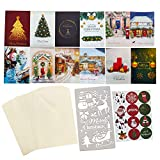 24 Pack Assorted Premium Gold Foil Christmas Cards Set Assortment variety of holiday greeting cards W/ Envelopes and Stickers