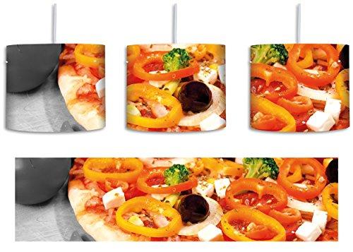 leckere Pizza mit Oliven und Hirtenkäse schwarz/weiß inkl. Lampenfassung E27, Lampe mit Motivdruck, Pendelleuchte - Durchmesser 30cm - Dekoration mit Licht