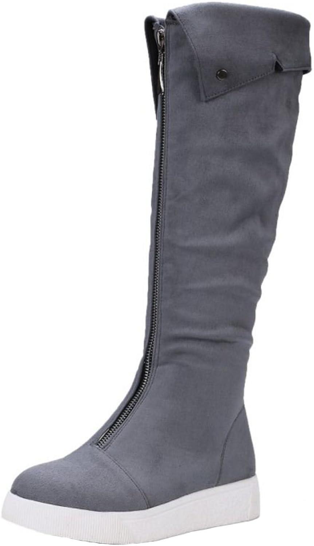 TAOFFEN Women's Flatform Boots Zipper