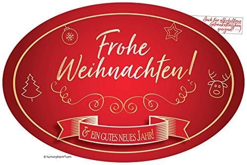 """""""Frohe Weihnachten"""" Aufkleber Flaschenetikett Etikett für Freunde, Familie, Kunden, Geschäftskontakte für Sektflaschen und Weinflaschen oval gold elegant"""