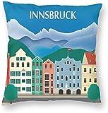 BONRI Stad Gebouw Poster Innsbruck Oostenrijk Reiskaart