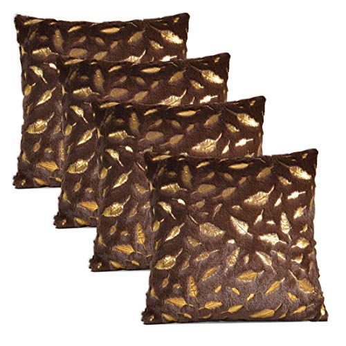 """Tennove 4 Pack - [Just Covers] 18"""" x 18"""" Pillow Case Feather Series Soft Plush Faux Fur Square Throw Pillow Covers Decorative Cushion Covers Case for Sofa,Bed (Brown-Feather, 4 Pack)"""