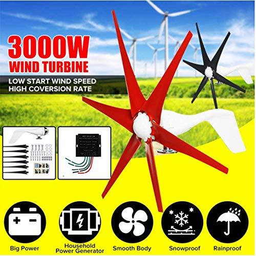 SISHUINIANHUA 3000W Windgenerator + Regler 12V / 24V 6 Blatt 4 Farben Wind Turbines Horizontal Startseite Powers Windmühle Energieanlagen Lade,Schwarz,24v