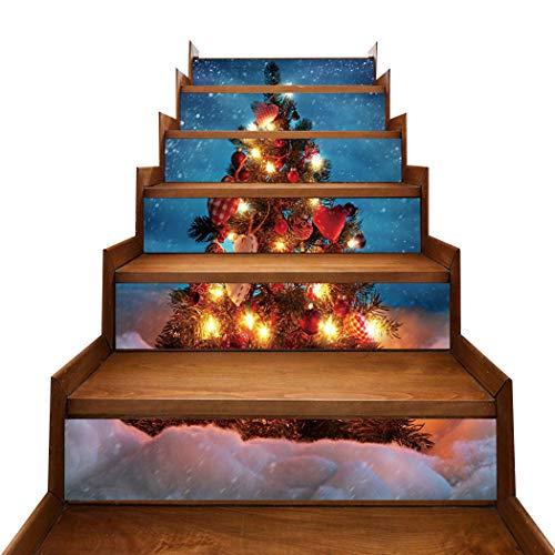 6PCS Adesivo per scale di Natale Illuminato Albero di Natale Stampato Adesivo per piastrelle Decorazioni per scale