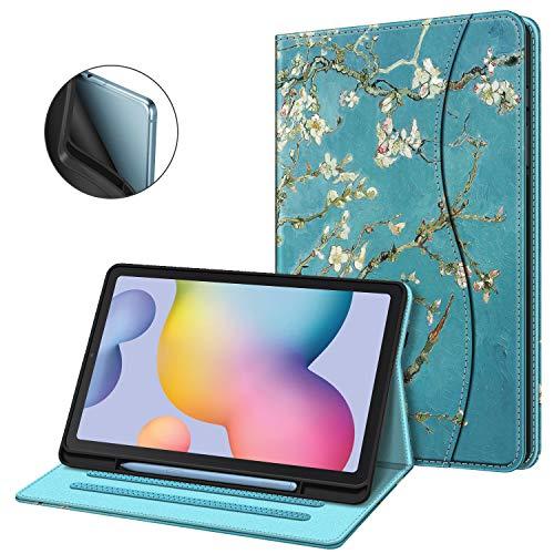 Fintie Hülle für Samsung Galaxy Tab S6 Lite, Soft TPU Rückseite Gehäuse Schutzhülle mit S Pen Halter und Dokumentschlitze für Samsung Tab S6 Lite 10.4 Zoll SM-P610/ P615 2020, Mandelblüten