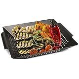 Zobel Grillkorb - Eisen Gemüsekorb für perfekt gebräuntes Gemüse, Fleisch und Fisch - Universeller, gelöcherter Grillwok geeignet für alle Arten von Grills I Gemüseschale I Gemüsepfanne 36 x 31 x 6 cm