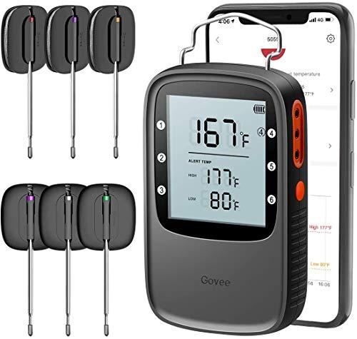 Grillthermometer Bluetooth, Govee Smarte Grillthermometer Digital Fleischthermometer Küchenthermometer mit 6 Edelstahlsonden, BBQ Bratenthermometer Ofenthermometer App-Steuerung für Grillen, Küche