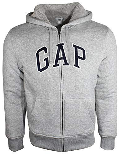 GAP Men's Sherpa Arch Logo Full Zip Winter Hoodie (Large, Light Grey (Navy Logo))