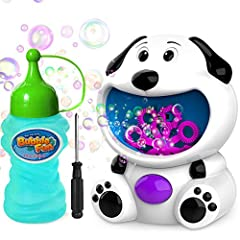 [Simple and Easy to Play] Adorable 3D dog bubble machine makes it easier to attract kids' attention. 4OZ bubble solution included, simple and easy for kids to operate and refill. Kids are free to carry this lightweight bubble toys with them wherever ...