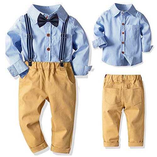 SANMIO Baby Jungen Bekleidungssets, Hemd + Hose + Fliege Krawatte Kinder Anzug, Gelb, Gr.- Etikette 140/Körpergröße 130-140 CM