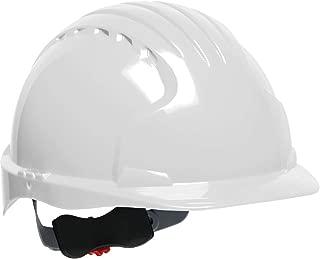 JSP 280-EV6151V-10 Evolution Deluxe Standard Brim Vented Hard Hat, 6 Point Polyester Suspension with Wheel Ratchet Adjustment, White