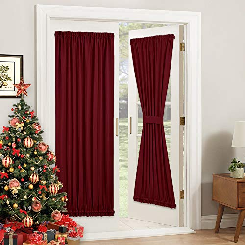 PONY DANCE French Door Curtain - Burgundy Panel Rod Pocket Blackout Window Treatments Privacy Protect for Sliding Patio Door Xmas Home Decor with Tieback, 54W x 72L inch, Red, Set of 1