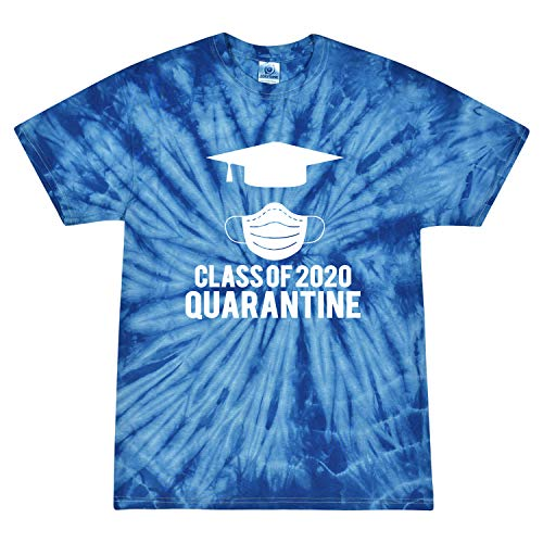 Class of 2020 Quarantined Funny Graduation Seniors Gift Pop Culture Tie-Dye T-Shirt, Royal, X-Large
