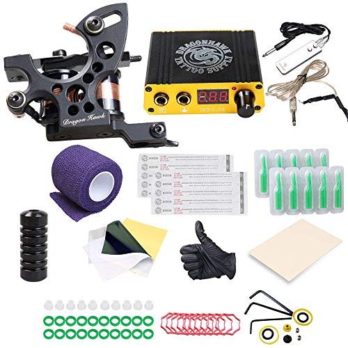 Dragonhawk Tätowierung Set Komplett Tattoo Set 1 Pro Tattomaschine Beginner Tattoo Machine Gun CE Power K4EUYMXNEW