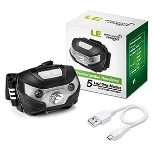 LE Linterna Frontal USB Recargable, 5 Modos de Luz, con Luz Roja, Ligera Elástica, para Ciclismo, Running, Correr, Deporte Nocturno