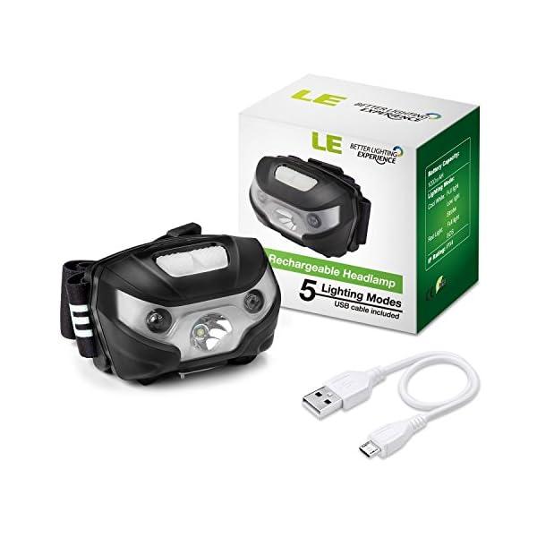 LE Linterna Frontal USB Recargable, 5 Modos de Luz, con Luz Roja, Ligera Elástica, para Ciclismo, Running, Correr… 1