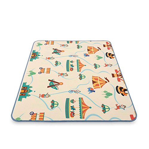 Baby Vivo Play mat Two-Sided Children's Playing Rug with Alphabet Baby Crawl Carpet Foam Kid Toddler playmat Play Blanket Educational Toys Fun 200 x 150 cm - Circus
