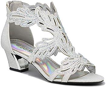 Enzo Romeo Lime03N Womens Open Toe Mid Heel Wedding Rhinestone Gladiator Sandal Wedge Shoes  Silver 8.5