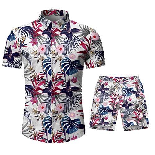 DAY8 Ensembles Homme Short Et Chemise Manche Courte Set Sportswear Homme Ensemble 2 Pièce Survetement Homme Ete Hawaïenne Decontracte Grande Taille Chic Fleurs Imprimé (Gris, XL)