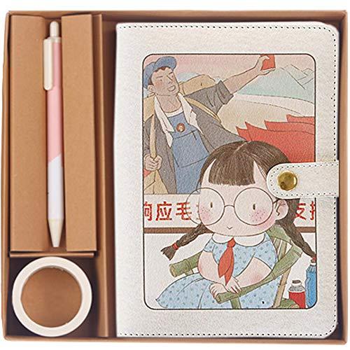 Umora 日記帳 お子様向け ルーズリーフ メモ帳 手帳セット かわいいペン、マスキングテープ、ギフトボックス付き A6サイズ スタンダードタイプ 北欧系