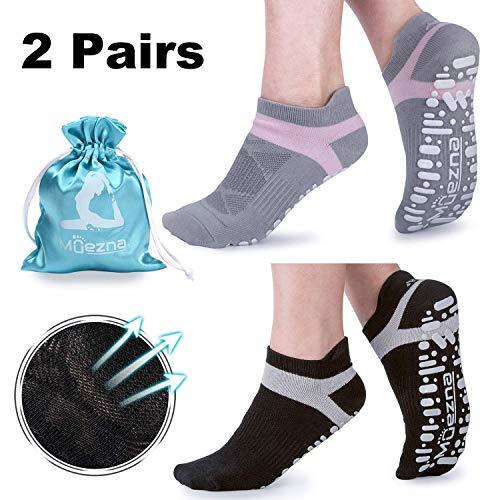 Calcetines Yoga Antideslizante Deporte Mujer silicona gránulos de masaje con algodón de Pilates Fitness Gimnasio,Danza (2 pares)