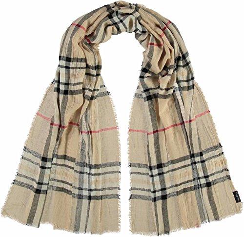 FRAAS elegante Damen-Stola mit Karo-Muster - karierter Schal für Herbst und Winter - warmes Hals-Tuch in verschiedenen Farben - modische Stola kariert Beige