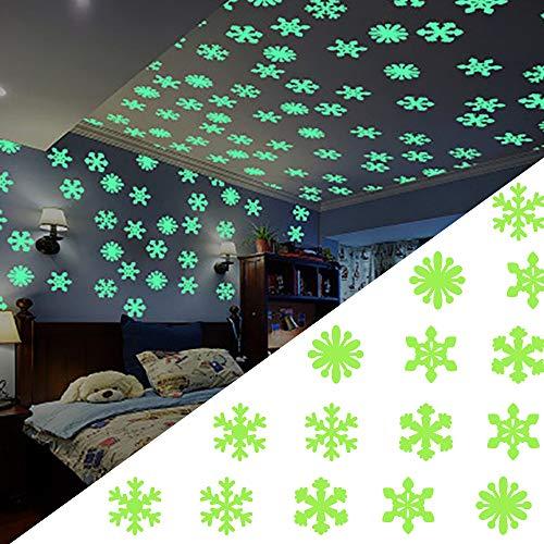 300 Piezas Pegatinas Luminosas, Pegatinas de Pared Fluorescentes Autoadhesivas,Pegatinas de Pared que Brillan en la Oscuridad, Pegatina de Copo de Nieve Luminosa de Navidad
