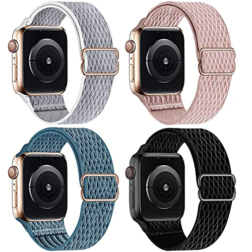 HILIMNY Elastic Braided Sport Solo Loop Compatible with Apple Watch Band 38mm 40mm, Stretchy Adjustable Nylon Men Women Strap Replacement Compatible with iWatch Series 6/5/4/3/2/1 SE, 4 Pack