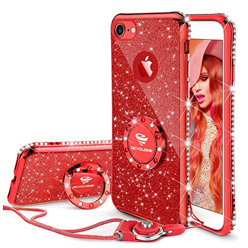 Cute iPhone 8 Case, Cute iPhone 7 Case, Glitter Luxury Bling Diamond Rhinestone Bumper with Ring Grip Kickstand Protective Thin Girly Red iPhone 8 Case/iPhone 7 Case for Women Girl - Red