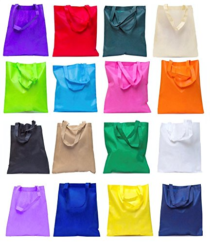 Reusable Convention - Conference Tote Bags Non Woven Bright Colors for Promotions, Giveaway Favors (Set of 100, Assorted Colors)
