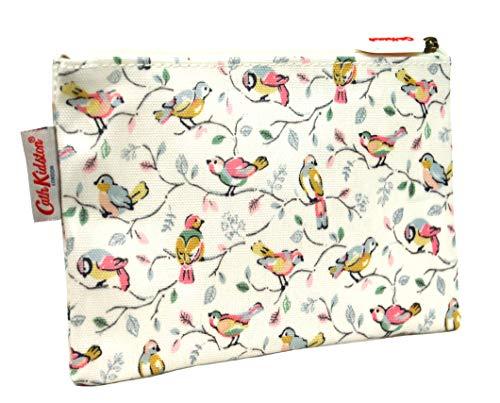 Cath Kidston Federmäppchen mit Reißverschluss, Wachstuch, Motiv kleine Vögel, Offwhite