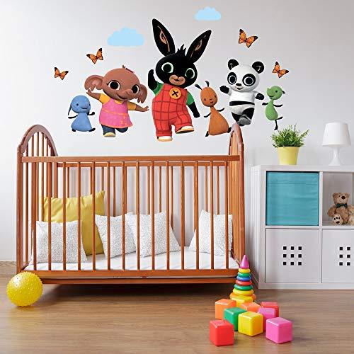 telo mare bing bimbo B_R0002 Adesivi Murali Effetto Tessuto Bing Cartoon Flop Amma Pando Padget Sula Decorazione Muro Cameretta Bambino
