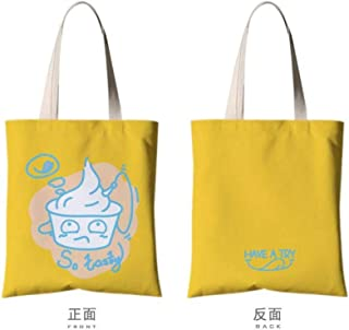 JUNSTD Tote Bag,Yellow Egg Personality Fashion Art,Student Canvas Bag Portable Green Shopping Bag Unisex Daily Commuter Bag Hand Large Capacity Folding Wash,Middle(35X40Cm)