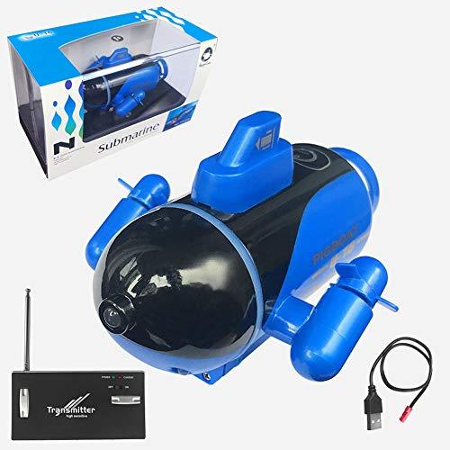 Fernbedienung Kleines Mini-U-Boot-SCHNELL-Ship-Ship-Modell-Fischtank kann unter Wasser wasserdichtes Kinderwasserspielzeug tauchen (Color : Blau)