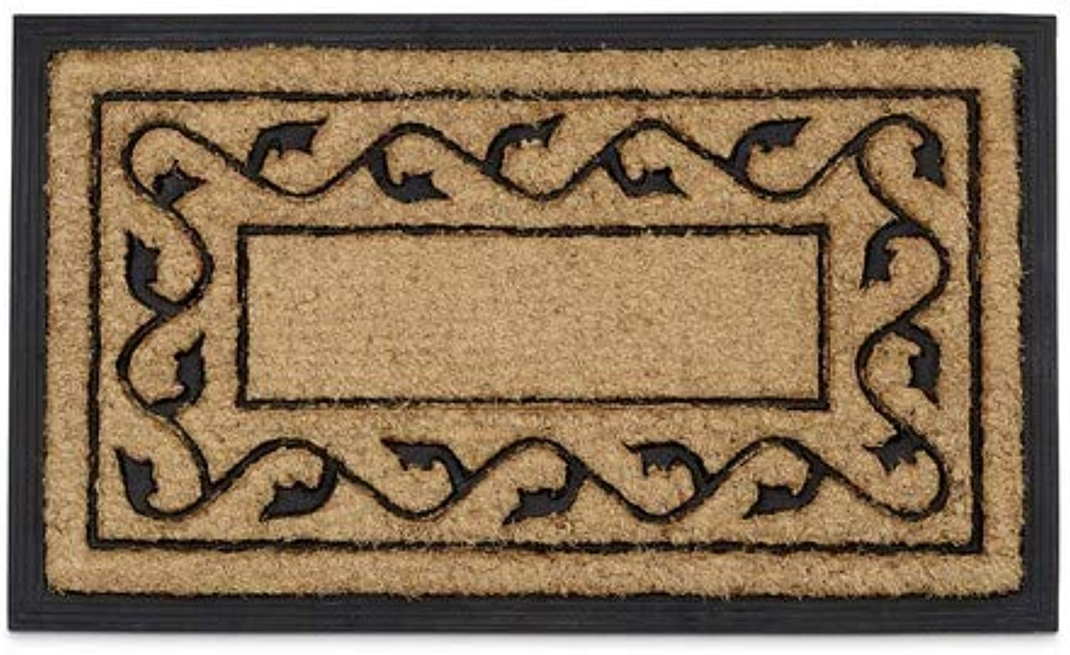 Relaxdays Coconut Fiber & PVC Rubber Doormat Anti-Slip Welcome Mat for Indoor & Outdoor Use w  Floral Pattern made of Sustainable Coir Floor Mat 2 x 75 x 45 cm, Natural Brown