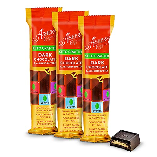 Asher's Chocolates, Keto Crafted Chocolate Bar, Dark Chocolate & Almond Butter Bar, Gluten & Dairy Free, Sweetened With Stevia, 100% Sugar Free, Small Batches of Kosher Chocolate, Family Owned Since 1892 (3 Bars, Dark Chocolate & Almond Butter)