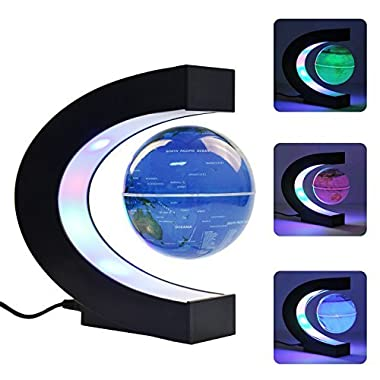 Gopush Floating Globe, Multi-Color Changing C Shape Magnetic Levitation Floating Globe World Map with LED Lights for Children Gift Home Office Desk Decoration (Blue)
