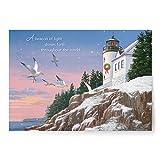 Designer Greetings Red Farm Studio - Boxed Christmas Cards Nautical/Coastal Design; Snowy Lighthouse on Cliff
