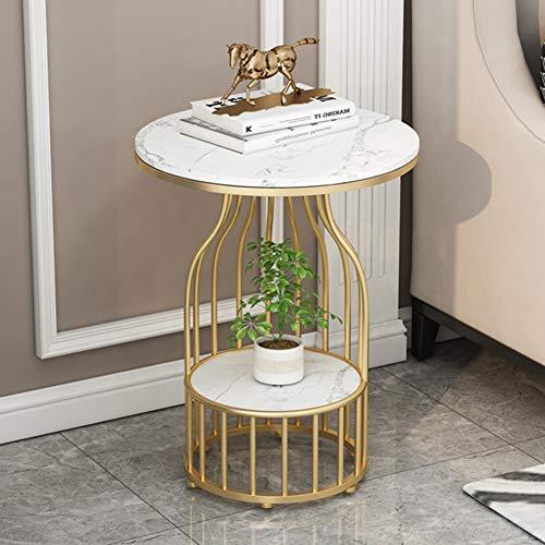 tavolino da caffè Tavolino da caffè Semplice in Ferro battuto, tavolino da Divano in Marmo, Adatto per Soggiorno, Camera da Letto, tavolino da corridoio, 50 × 50 × 60 cm